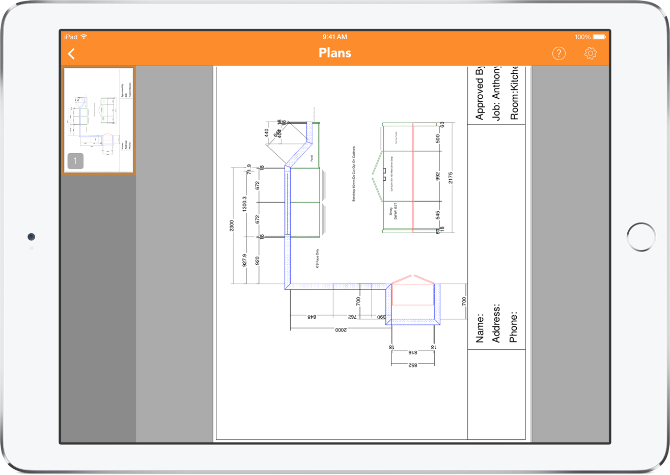 IKitchen Plans Screen View